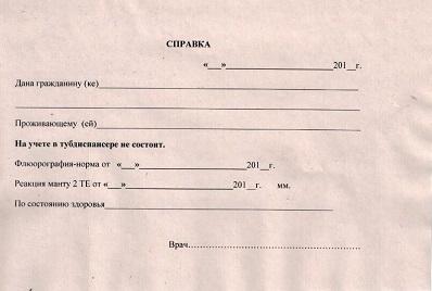 Справка от фтизиатра